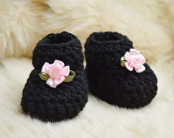 Black Baby Girl Shoes, Black Newborn Shoes, Black Baby Booties, New baby shoes, Newborn Baby Booties, Baby Shower gift, Baby photo prop