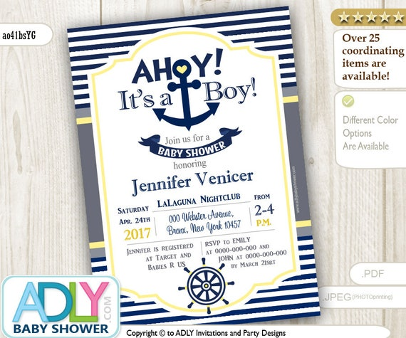 Editable navy yellow gray nautical baby shower invitation for boy il570xn filmwisefo