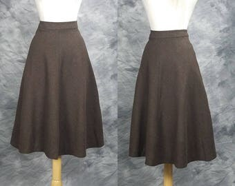 Brown wool A line skirt, Schrader Sport, medium, tea length