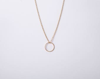 Gold Plated Necklace Ring Circle Golden Necklace Minimal