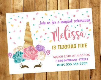 Unicorn Invitation - Unicorn Birthday Invitation - Unicorn Party Invitation - Unicorn Floral Invite