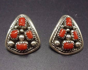 Classic Vintage NAVAJO Sterling Silver & CORAL Cluster EARRINGS Pierced