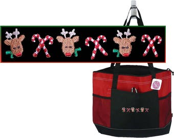 Reindeer & Candy Canes Holiday Gemline Zippered Tote Fun Christmas Bag + Name Monogram Custom Embroidered