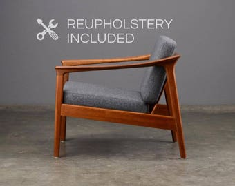 Mid Century Lounge Chair Danish Modern Teak Folke Ohlsson for Bodafors