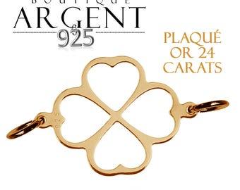 Connecteur intercalaire plaqué or en argent massif 925 appret  trèfle avec coeurs
