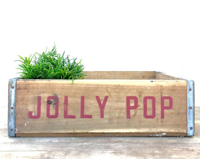"""Featured listing image: Vintage Soda Crate """"Jolly Pop"""" Wooden Tray"""