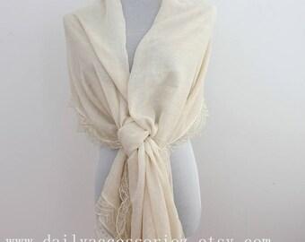 champagne lace shawl