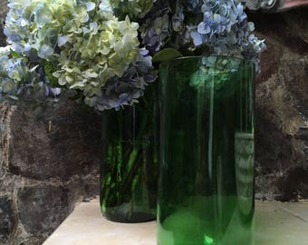 Recycled glass wine bottle handmade flower vase. Upcycled green glass rustic minimalist home decor.