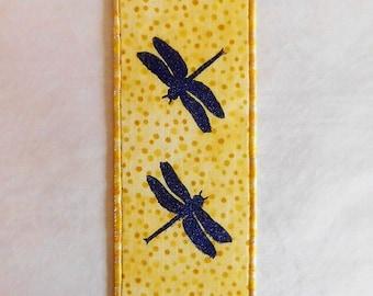 Purple Dragonflies Fabric Bookmark