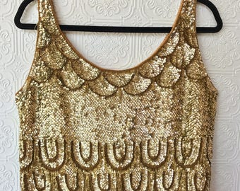 1960's Gold Sequin and Fringe Top