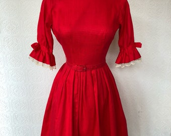1950's Red Floral and Lace Cocktail Dress