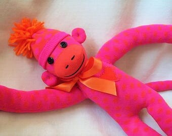 Sock Monkey Valentine Stuffed Animal Handmade Toy Doll
