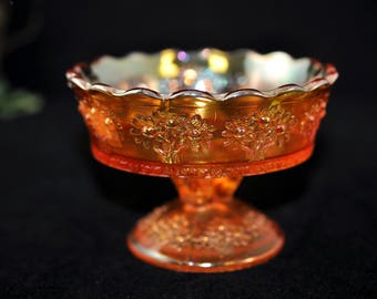 Carnival Glass Dish, Antique, Dish, Beautiful Antique Candy dish, Vintage collectible, Orange tree compote, #1327