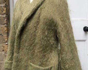 Sage green mohair wraparound  jacket late 50s early 60s made in Scotland