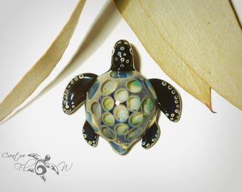 Glass Pendant - Misty Honeycomb Turtle - Glass Turtle - Boro Pendant - Hand Blown Glass - Turtle Pendant - Unique & Artist Signed