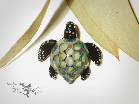Glass Pendant - Misty Honeycomb Turtle - Glass Turtle - Boro Pendant - Hand Blown Glass - Turtle Pendant - Unique & Artist Signed