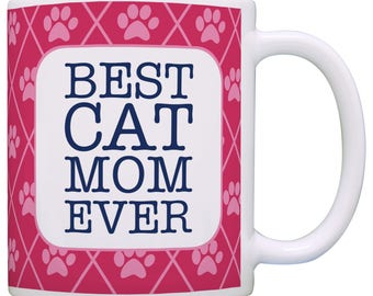 Cute Gift for Cat Lover Best Cat Mom Ever with Pawprint Background Mug - M11-3294