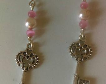 Key earrings, scroll key earrings, key dangle earrings, pink earrings, silver key, key jewelry