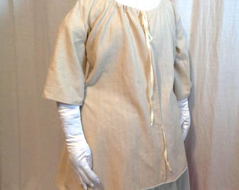 18th Century Beige Stripe Linen Shortgown Jacket