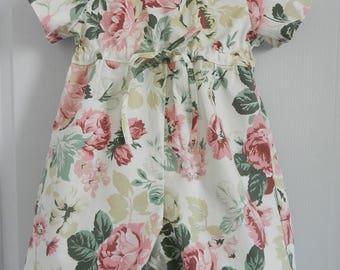 Short sleeves romper in pink flowers print - 18 months old