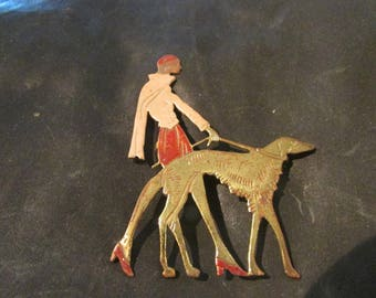 1920s Vogue Flapper girl brooch , 20s/30s walking Borzoi dog , promotion piece