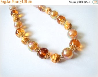 STOREWIDE SALE SALE Beautiful Vintage Medium Length Harvest Amber Orange Gold Brown Aurora Borealis Swirl Beads Necklace Vintage UnSigned Je