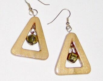 Jingle Bell Centers, Jingle Bell Earrings, Gold Toned Jingle Bells Pierced Earrings Handmade Wooden Triangle with Bells