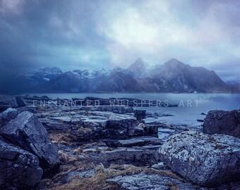 beautiful sea and Mountains landscape digital background