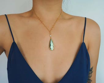 14k Gold Labradorite & CZ Necklace