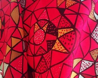 Scandinavian vintage fabric red 1950s geometric pattern Viola Gråsten Oomph retro fabric made in Sweden Mid century modern Handprinted linen