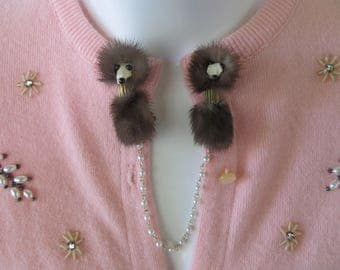 Vintage 60's Genuine Mink Sweater Clip