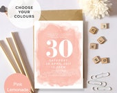 30th, 40th, 50th, 60th, 70th, 80th, 90th Watercolour Birthday Personalised Invitations