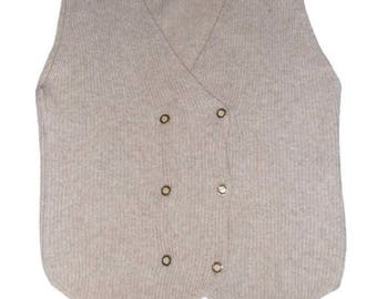 Vintage knit Sweater Vest  Women Beige wool knitted vest Gifts for her