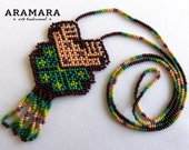 Mexican Jewelry, Deer necklace, Huichol Jewelry, Huichol necklace, Peyote necklace, Mexican Necklace, Native american necklace, CAM-0016