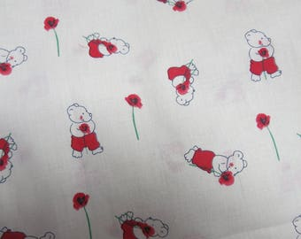Red bear fabric