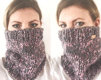 Pink and Gray Silver Sparkle Wool Cowl Neck Warmer, Hand Knit Chunky Cowl, Gray and Pink Chunky Cowl Scarf, Glitter Cowl Scarf, Sparkle Pink