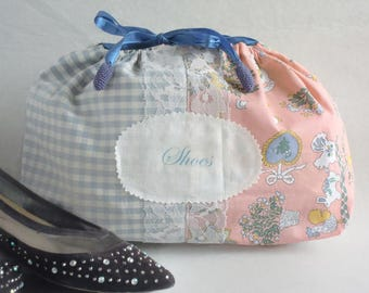 Pink and Blue Shoe Bag Drawstrings Travel Bag Handmade Pink and Blue Purse Stylish Shoe Protector Free Shipping.