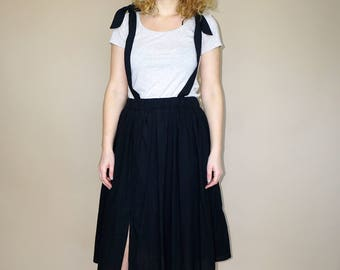 Women's black gauze suspender overall high waist midi skirt