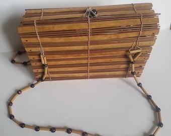 Wooden slat purse - vintage 1970's shoulder bag, lightweight wood purse with long straps.