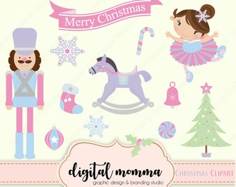 Sweet Nutcracker Ballet Christmas Clipart Set, Personal & Commercial Use, Instant Download!