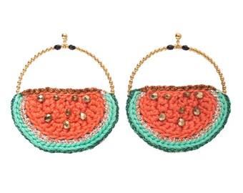 Crochet watermelon Retro CARMEN Tangerine BoHo earrings
