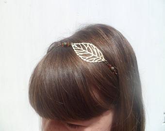 "head band / headband ""syla"" flexible brass leaf and amber Crystal beads"