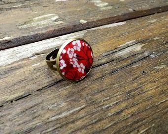 """liberty textile ring """"tone noir et rouge"""" adjustable brass"""
