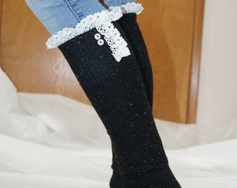 Boot Socks - Lace Gray Socks Ivory Boot Socks with Cream Lace and Buttons
