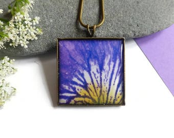 Purple Flower Necklace, Purple Flower Jewelry, Purple Iris Pendant, Purple Jewelry, Gift For Garden Lovers, Gift for Mom, Gift Ideas For Her