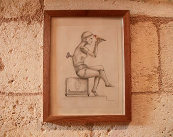 """Original dibujo en lápiz """"el autómata femenino"""""""