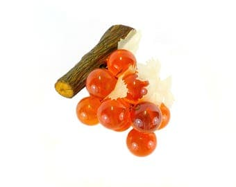 Vintage Orange Lucite Grape Cluster with Leaves on Wood Branch, Retro Kitsch, Fake Fruit