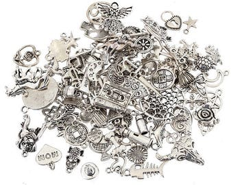 50 PCS - Assorted Silver Charms Mix - Grab Bag - DIY Charm - Antique Silver - Jewelry Supplies - Pewter Necklace Charm