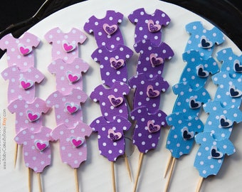 24 Baby Shower Cupcake Toppers - Pink Lavender Blue Polka Dot Cupcake Toppers - Cupcake Toppers - Baby Onesie