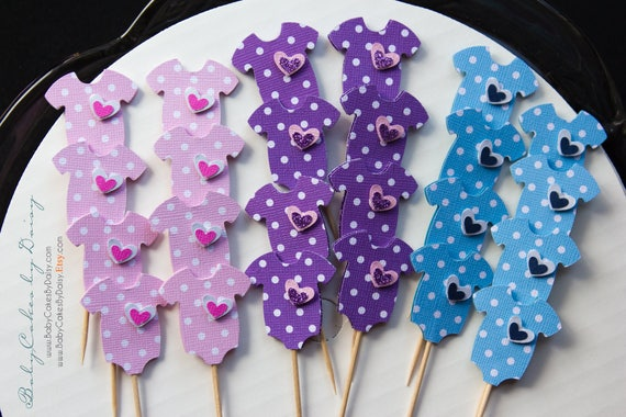 Baby Shower Cupcake Toppers - Pink Lavender Blue Polka Dot Cupcake Toppers - Cupcake Toppers - Baby Onesie